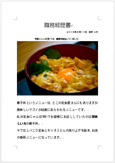 職務経歴書・親子丼